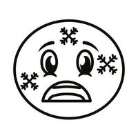 frozen emoji face classic line style icon vector