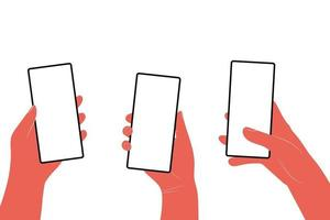 Human hands hold horizontally mobile phone with blank screen vector