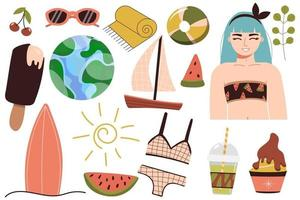 A set of summer things for the beach Travel to a sunny country Happy girl in a bikini is resting at the sea A woman in a swimsuit sunbathes and relaxes near the water vector