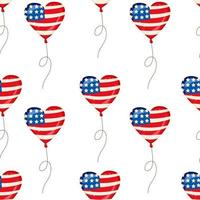 Seamless Pattern Heart Balloons for Independence Day American Patriotic Fabric Transparent Background vector