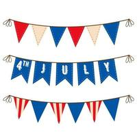 4th of July Decoration set of garlands for USA national holidays events banners posters web Fourth of July vector illustration US Independence Day bunting banners set