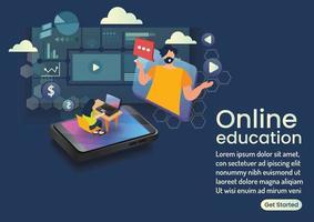 teaching online eaducation on fullscreen online wedsite design vector