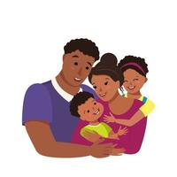 Happy African American family together International family day Avatar dad hugs mom and children Group of people Father mother daughter and son vector