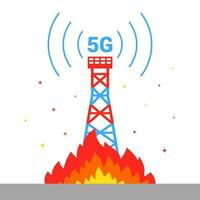 the destruction of the 5G tower set fire to Internet equipment flat vector illustration
