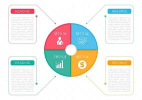 Infographic circle art design infomation frame colorful work step vector