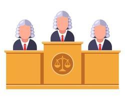 Los jueces se sientan en una mesa y deciden una ilustración de vector plano de caso penal
