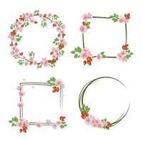 Set of rose hip wreath Round and square frame cute pink and flowers and fruits Festive decorations for wedding holiday postcard poster and design vector