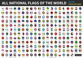 All official national flags of the world  circular design  Vector