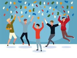 happy group of people jumping celebrating confetti festive vector