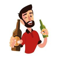 celebrating man holding a bottles of champagne and wine cheers vector