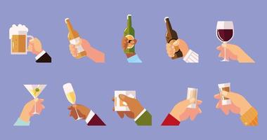 hands holds glasses cup bottles drinks cheers vector