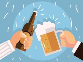 male hands with beer glass and bottle cheers vector