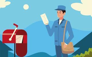 Cartero del servicio postal con bolsa sobre y buzón en la calle vector