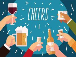 cheers hands with beer wine cocktails and bottles drinks vector