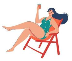 Women is relaxing in a sun lounger Cute girl drinks cocktail Summer vacation Outdoor recreation Young girl Relax Flat cartoon style Isolated illustration Vector
