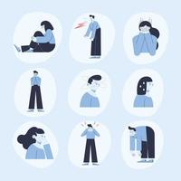 panic attack nine icons vector