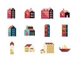bundle of eleven buildings and sailboat minimal city set icons vector