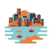 buildings and sailboats in sea minimal city scape scene vector
