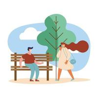 couple using masks vector