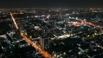Timelapse of traffic around Bangkok city in Thailand at night video