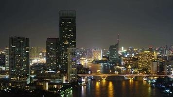 Beautiful architecture around Bangkok city in Thailand at night video