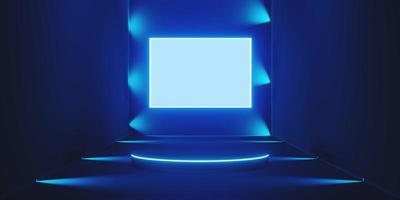 Abstract neon blue background pedestal, stand podium in the room with spotlight blue color dark blue photo