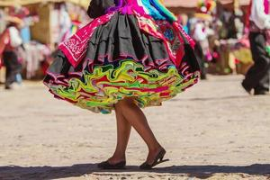 Colorful Skirt During Festival on Taguile Island, Peru photo