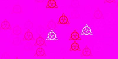 Light Pink Red vector backdrop with mystery symbols