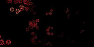 Dark Orange vector backdrop with mystery symbols