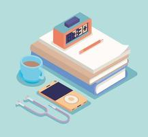 isometric workplace icons vector