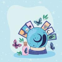 crystal ball and set of esoteric icons on a blue background vector illustration design