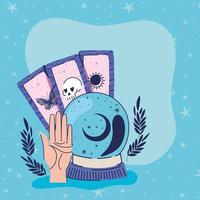crystal ball and set of esoteric icons vector illustration design