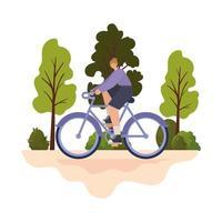 Mujer sobre una bicicleta púrpura en un parque, diseño de ilustraciones vectoriales vector