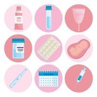 bundle of nine gynecology icons vector