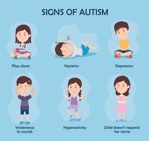 six kids with signs of autism vector
