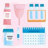 bundle of six gynecology icons vector