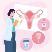 ginecología doctora e iconos vector