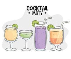 four fresh drinks drawn style vector