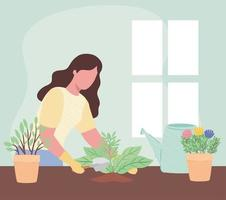 woman with spatula and houseplants gardening activity vector illustration design
