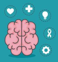 mental health brain with icon set vector design