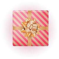 Gift Box with Golden Bow and Ribbon. Vector Illustration EPS10