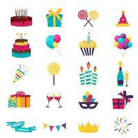 Happy birthday icons set. Icons design for your product, web and mobile applications. Vector Illustration EPS10