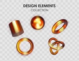 conjunto de colección de elementos de objetos de formas geométricas de degradado de color metálico de render 3d realista para diseño aislado sobre fondo transparente. ilustración vectorial eps10 vector