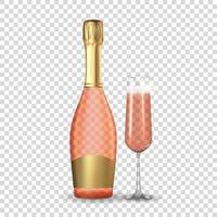 Realistic 3D champagne Rose Pink and Golden Bottle and Glass Icon isolated on white background. Vector Illustration EPS10