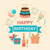 Cute Happy Birthday Background with Gift Box, Cake and Candles and other Design Element for Party Invitation, Congratulation. Vector Illustration EPS10