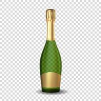 Realistic 3D champagne Green Bottle Icon. Vector Illustration EPS10