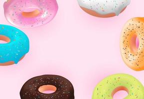 Realistic 3d sweet tasty donut background. Can be used for dessert menu, poster, card. Vector illustration EPS10