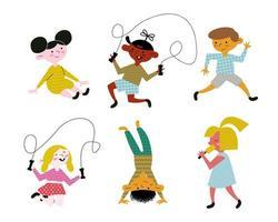 happy little six kids practicing activities characters vector