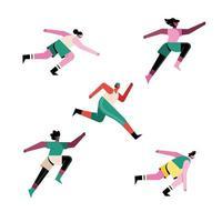 paquete de cinco corredores atletas personajes vector