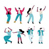 happy young people dancing eight characters vector